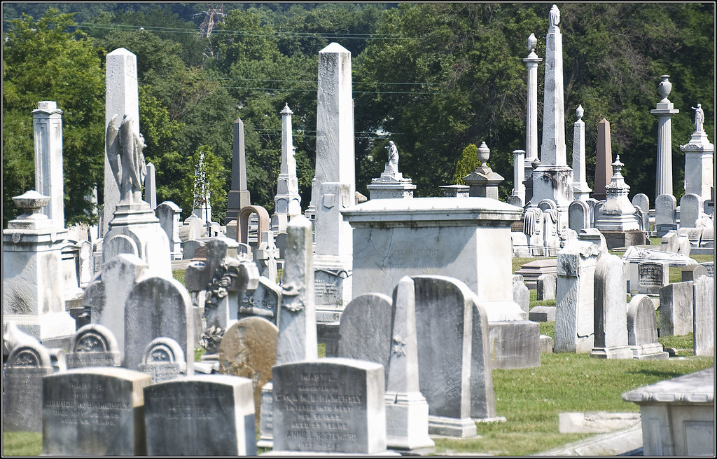grave monuments at laurel hill cemetery
