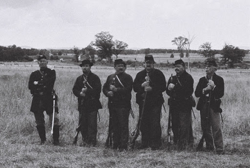 black and white photo of six unnamed gettysburg union soldiers