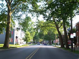 photo shows a suburban street in hanover pennsylvania