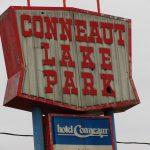 photo shows the conneaut lake park sign