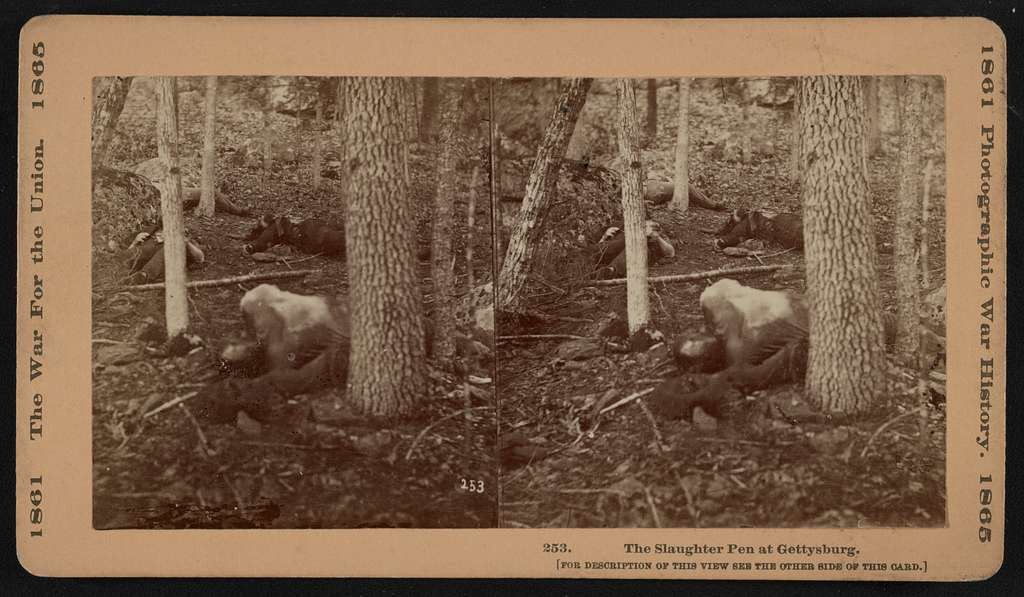 photo is antique and shows a few bodies lying at the area called the slaughter pen in the gettysburg battlefields.
