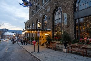 photo shows the facade of the hotel bethlehem lit by beautiful lanterns